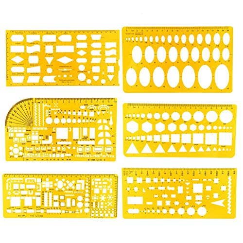 6 Pieces Geometric Drawings Templates Measuring Rulers Plastic Clear Yellow Plastic Rulers for Studying, Designing and Building