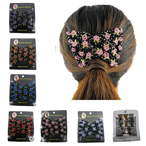FUMUD 6pcs New Stretch Flower Bow Glass Bead Hair Head Comb Cuff Double Hair Comb (Glass Bead Cuff)