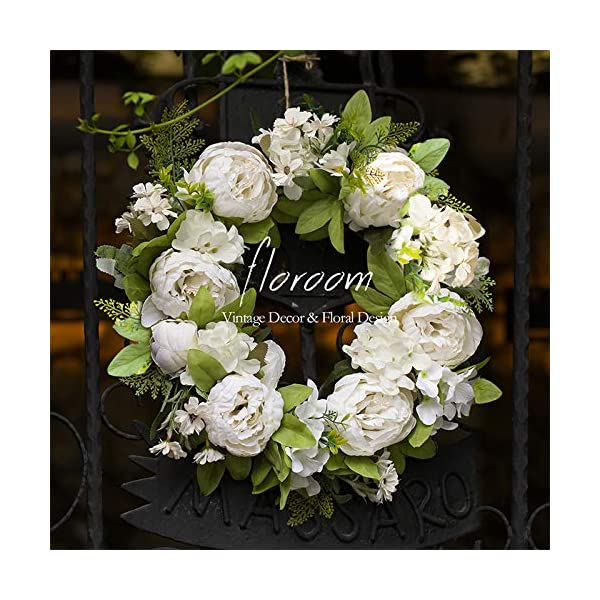 "Floral Wreath, Door Wreath, Artificial White Peony Wreath for Front Door 15""-16"", Wall Decor"