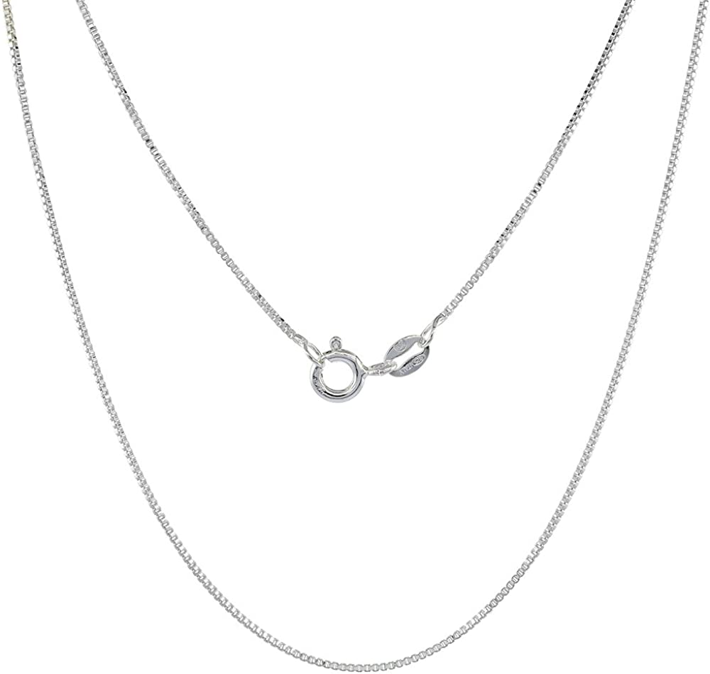 B000B6RWJ0 Sterling Silver Box Chain Necklace 0.8mm Very Thin Nickel Free Italy, Sizes 7-30 inch 51txZb6L9kL