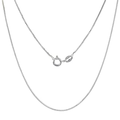 fb2894473af Amazon.com: Sterling Silver Box Chain Necklace 0.8mm Very Thin Nickel Free  Italy, 16 inch: Jewelry
