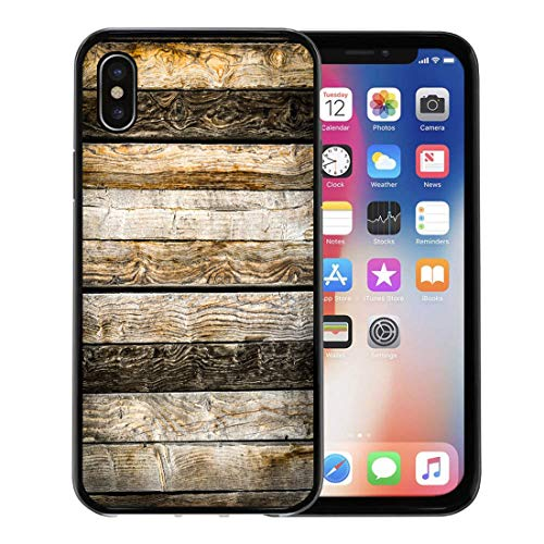 Semtomn Phone Case for Apple iPhone Xs case,Cabin Old Natural Brown Barn Wood Wall Wooden Pattern Abstract Aged for iPhone X Case,Rubber Border Protective Case,Black ()