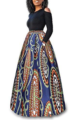 Women's Two Pieces High Waisted Floral Print Maxi Skirt A Line Long Skirt Dress