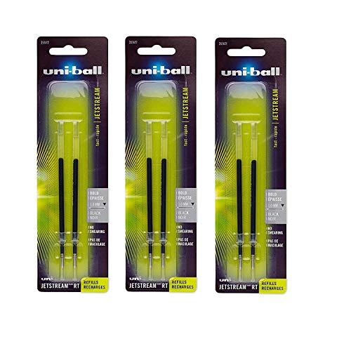 (uni-ball Jetstream RT Ballpoint Pen Refills, Bold Point (1.0mm), Black, 6 Count)
