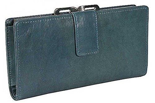 - Distressed Leather Framed Clutch Wallet Blue