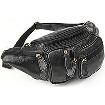 Polare Men's Natural Leather Fanny Pack Waist Bag Black Large