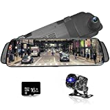 "CUagain Car DVR 10"" Mirror Dash Cam Streaming Media Full HD 1080P Car Video Camera DVR Driving Recorder Rearview Mirror,Waterproof Night Vision Front and Rearview Camera 1080P"