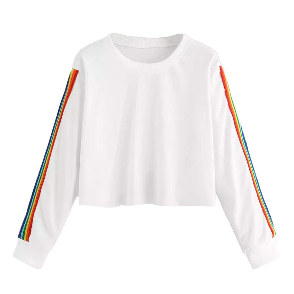 Women's Polos, Hoodies for Teen Girls, Womens Long Sleeve Rainbow Patchwork O Neck Sweatshirt Casual Blouse Pullover (White, S)