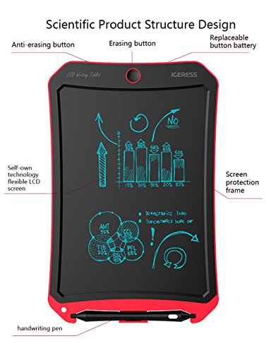 IGERESS Newest 8.5-inch LCD Writing Tablet with Cool Robot Element Design Electronic Writing Board for Kids and Adults Happy Drawing and Working Saving Papers by IGERESS (Image #2)