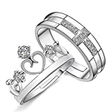 Adorable Woman Prince and Princess Crown 925 Sterling Silver Couple Adjustable Rings (Man and Woman)
