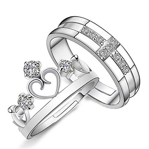 (Adorable Woman Prince and Princess Crown 925 Sterling Silver Couple Adjustable Rings (Man and Woman))
