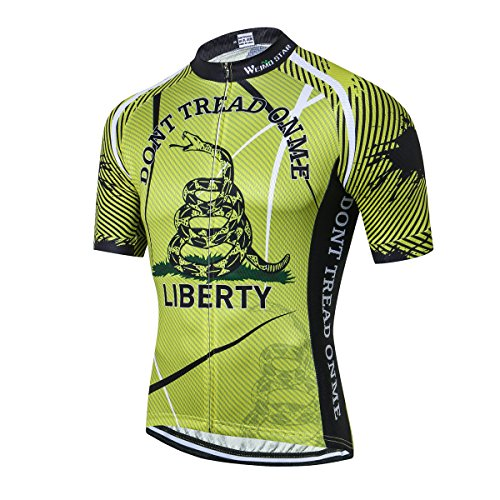 New Pro Men's Cycling Jersey Short Sleeve Riding Shirt USA Full Zipper Bike Top Bicycle Clothing Green Size -