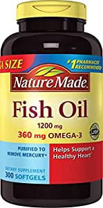 Nature Made 1200mg of Fish Oil, 2400 per serving, 360mg of Omega-3, 300 Softgels