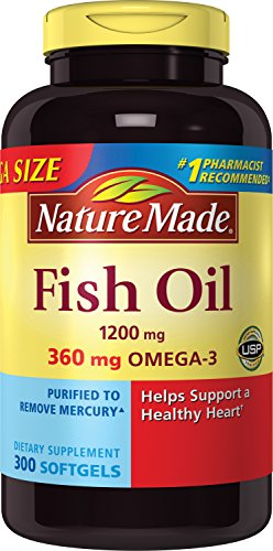 031604025861 - Nature Made 1200mg of Fish Oil, 2400 per serving, 360mg of Omega-3, 300 Softgels carousel main 0