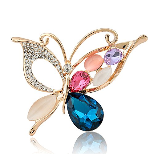 Classic Multilayer 3D Butterfly Gold Plated Marquise Opal Crystal Rhinestone Brooch Pin Jewelry (Beige)