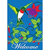Welcome Hummingbird Trumpet Flowers 42 x 29 Rectangular Double Applique Large House Flag Review
