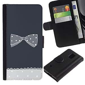 LASTONE PHONE CASE / Lujo Billetera de Cuero Caso del tirón Titular de la tarjeta Flip Carcasa Funda para Samsung Galaxy S5 V SM-G900 / bow bowtie black white polka dot grey