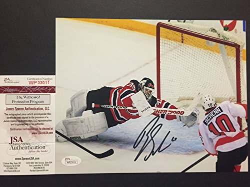 Autographed/Signed Brayden Schenn vs. Martin Brodeur Philadelphia Flyers 8x10 Hockey Photo JSA COA - Martin Brodeur Memorabilia