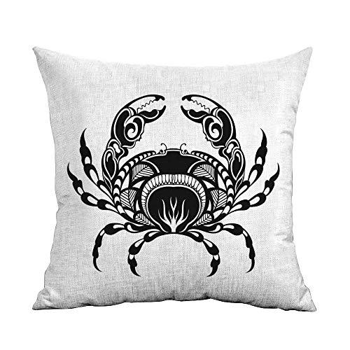 (warmfamily Polyester Pillowcase Crabs Artistic Design of an Aquatic Arthropod Marine Biology Underwater Wildlife Inspired Machine Washable W16 xL16 Black White)