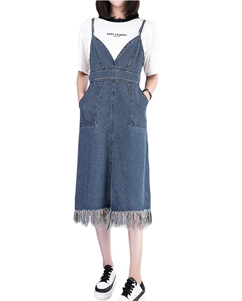 Aimeely Women Suspender Strap Tassels Denim Skirt Slim Jean ...