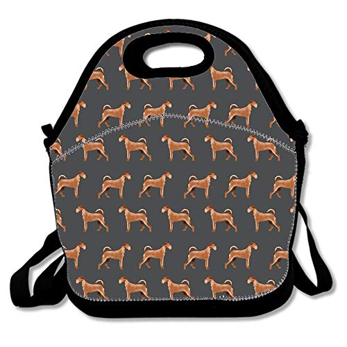 Irish Terrier Dog Breed Pet Pattern Dog Art Terriers Portrait Insulated Neoprene Lunch Bag Reusable Thermal Thick Lunch Tote Bag For Teens,Girls,Kids,Adults For Outdoors,Work,Office,School