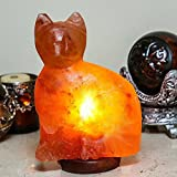 Natural Himalayan [Hand Crafted] Crystal Rock Salt Cat Lamp w/ Wood Base