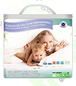 PLAGAS ONLINE Funda Almohada Anti chinches, Anti Ácaros y Bacterias 40x90: Amazon.es: Hogar