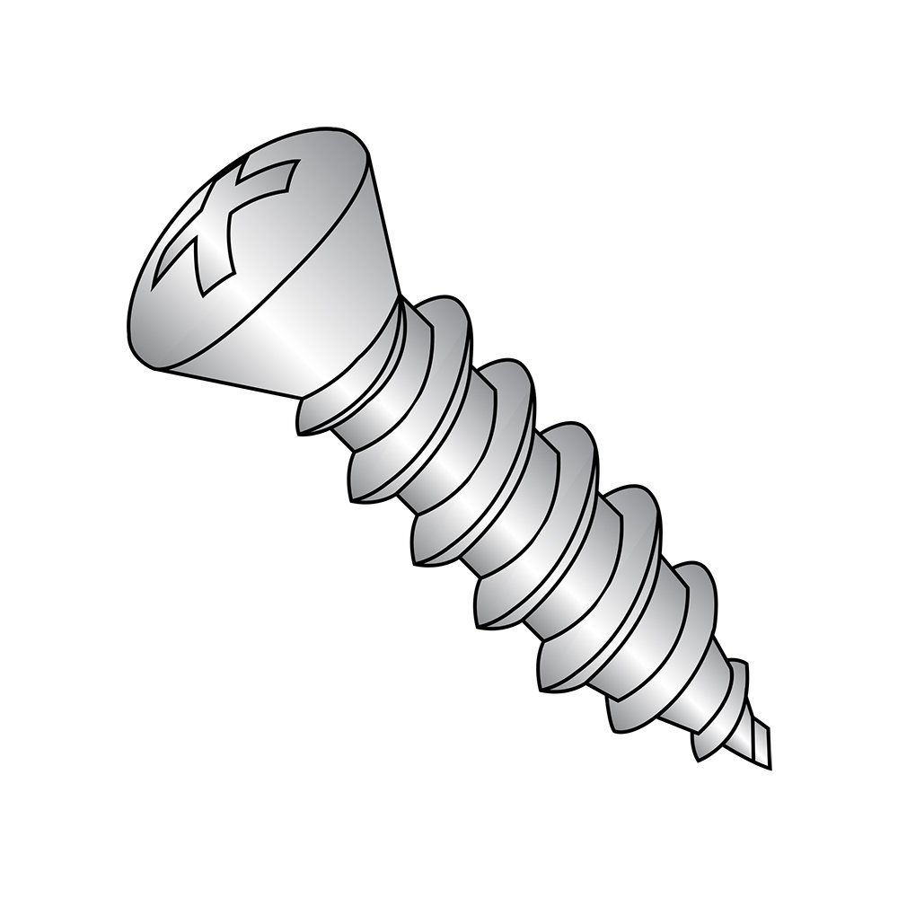 Stainless Steel Sheet Metal Screw Phillips Drive 3//8 Length Plain Finish Oval Head #6-18 Threads Pack of 100