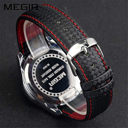 MEGIR Men Wrist Watch Leather Waterproof Luminous Analog Quartz Sport Casual Watch with Calendar for Business Work School Outdoor