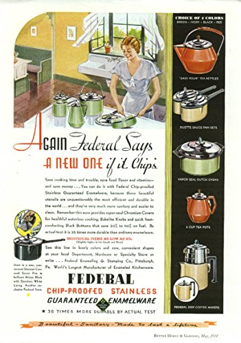A new one if it chips Federal Stainless Enamelware ad 1934