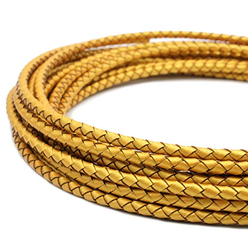 shapesbyX 5 Yards 4mm Braided Leather Strap Round Leather Cord for Jewelry Making Bolo Tie Gold