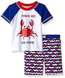 Sol Swim Baby Boys\' Solo Swim-Infant-Pinch Me Rashguard Set, Multi, 18 Mos