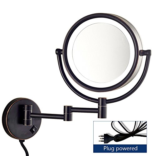 Gecious Wall Mount Magnifying Mirror with Light with 10X Magnification/LED Lighted/8 inches/Double Sided/Powered By Plug/Oil Rubbed Bronze finished