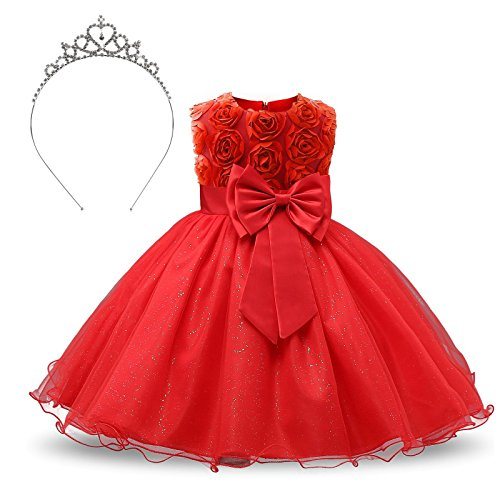 Crown Belt Princess (TRADERPLUS Girl Sleeveless Lace 3D Flower Tutu Holiday Princess Dresses with Crown Headband (Red, 5-6 Years))