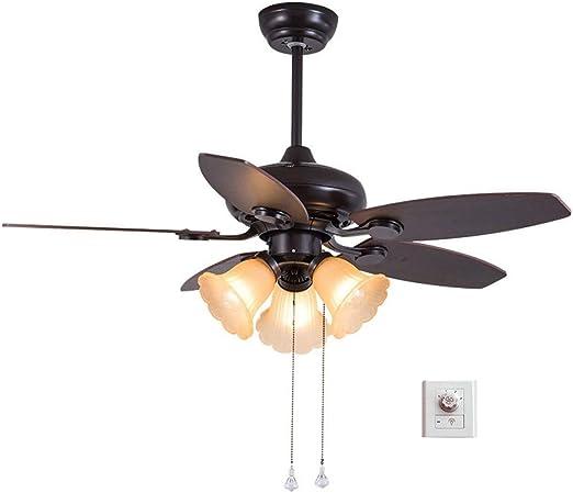 Ventilador techo Con Luz con Control De Pared/Iluminación Interior/Luces/ Lámparas/Sala De Estar/Dormitorio/Cocina/Diámetro 42 Pulgadas 107 Cm 5 Hoja E27 * 3 xiuyun: Amazon.es: Hogar