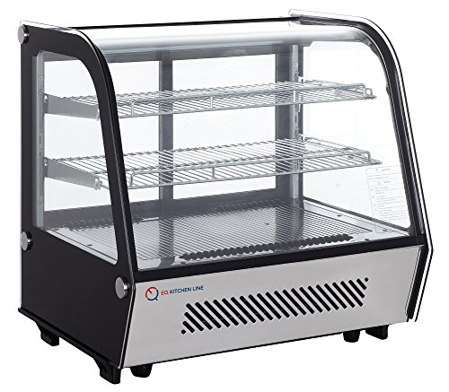 EQ Black Countertop Refrigerated Display Case Showcase, (Refrigerated Bakery Display Case)