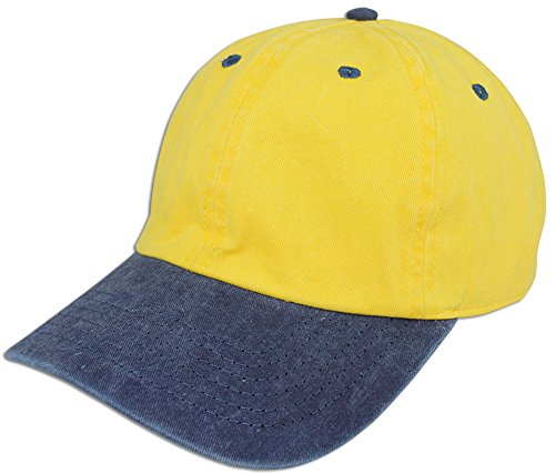 JLGUSA Dad Hat Pigment Dyed Two Tone Plain Cotton Polo Style Retro Curved Baseball Cap (Yellow/Blue) ()