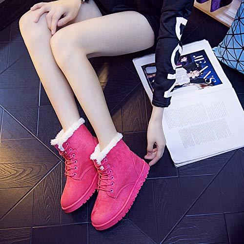 HOESCZS Femmes Chaussures Chaussures Femmes Hiver Nouvelle Bottes De Neige Imperméables Bottes Femmes Bottes Femmes Martin Chaussures en Coton Femmes Couleur Unie Bottes Chaudes 39|Red 4b4dba