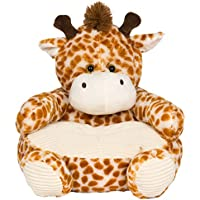 Soft Plush Giraffe Childrens Chair With Corduroy Trim 18in