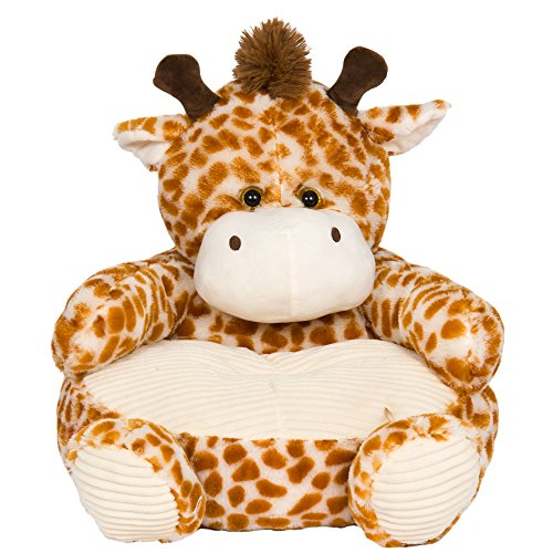 Soft Plush Giraffe Childrens Chair With Corduroy Trim - Wild Chair Giraffe Animal