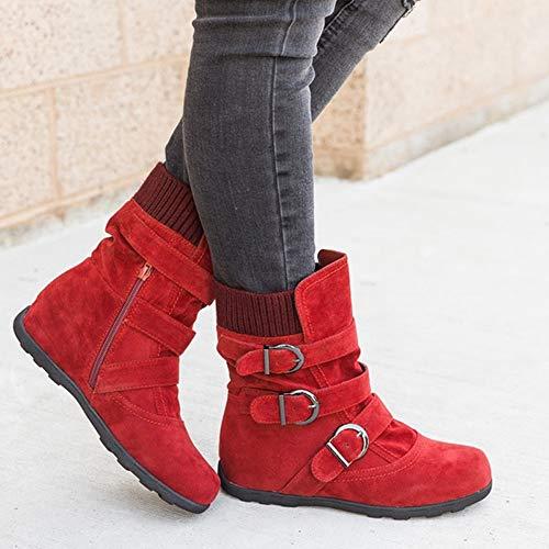 Compensées Automne Chic Dame Boucle Bottes Robemon♚hiver Suede Métal Ronde Plat Chaussures En Femme Rouge Tête qPSZwvg