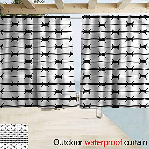 - MaryMunger Window Curtains Barbed Wire Fence Protection Design Draft Blocking Draperies W55x63L Inches