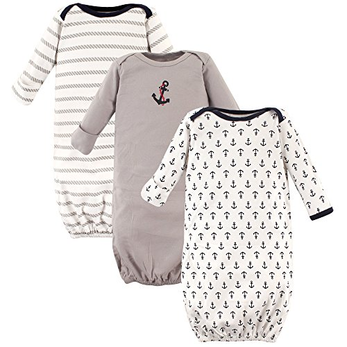 Luvable Friends Unisex 3 Pack Cotton Gown, Boy Nautical, 0-6 Months