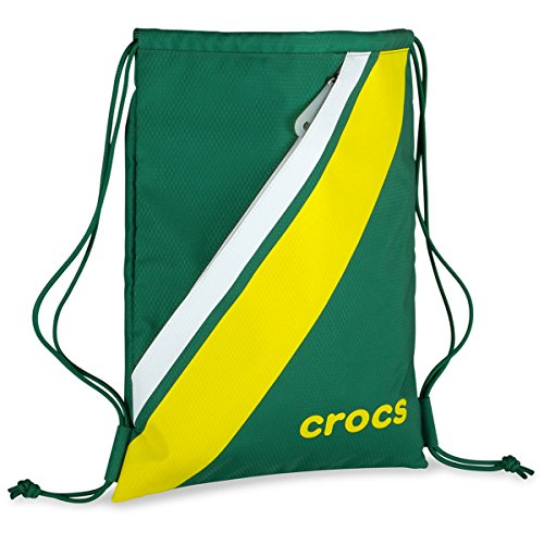 [Crocs Retro Sackpack Gym Bag Fitness Tote Drawstring Cinch Sack School Sports With Pockets Green] (Red Croc Pattern)