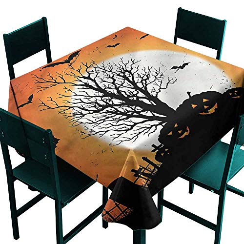 DONEECKL Antifouling Tablecloth Vintage Halloween Bats Pumpkins and Durable W54 xL54]()
