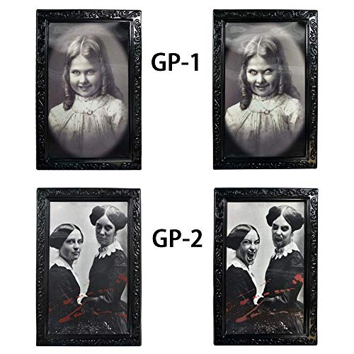 Longess Face Changing Scary Decorative Frame 3D Horror Portrait for School Classroom Halloween(2 Pcs) ()