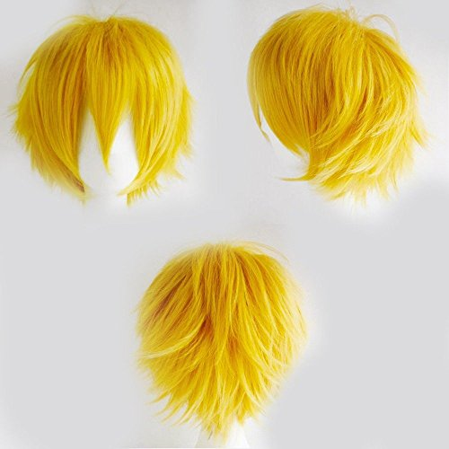 Wearing A Costume To Comic Con (Short Fluffy Anime Wigs for Women Men 21 colors Spiky Unisex Comic Wigs with Oblique Bangs for Halloween Cosplay Costume Party with Free Wig Cap Yellow)