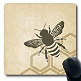 Tobesonne Mousepads Beehive Brown Honey Bee Old Nature Honeybee Honeycomb Hive Pattern Design Oblong Shape 7.9 x 9.5 Inches Non-Slip Gaming Mouse Pad Rubber Oblong Mat