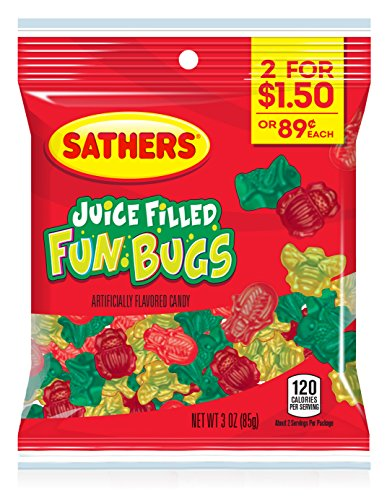 Sathers Juice Filled Fun Bugs, Assorted, 3 Ounce Bag, Pack of 12