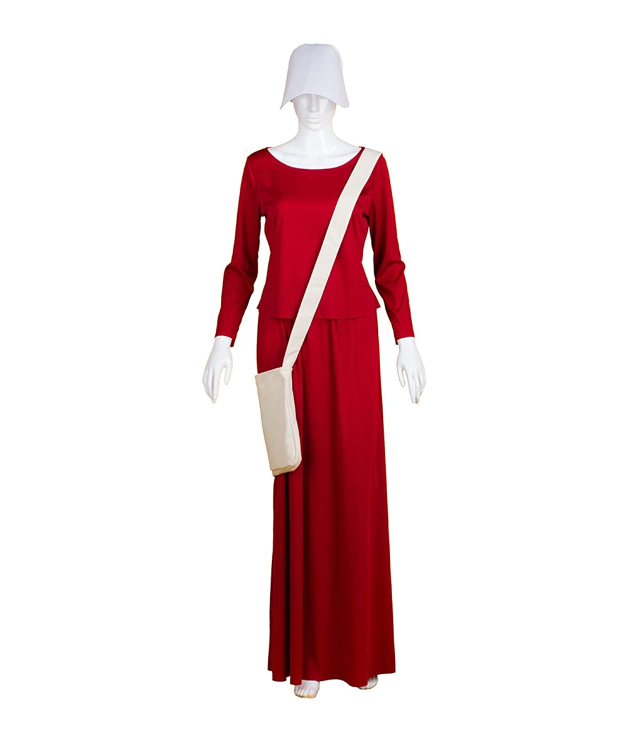 Halloween Party Online Adult Women's Dress handmaid Costume With Bag and Bonnet